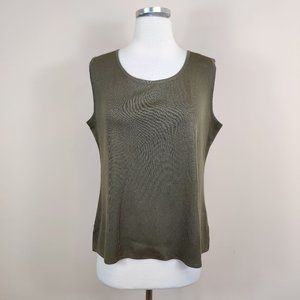 Exclusively Misook Green Sleeveless Shell Tank Top